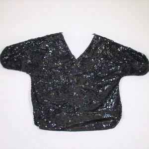 Vtg 80s 90s L Heavy Beaded Sequin Shirt Black EUC